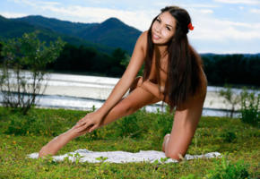 romana, rika s, sexy girl, adult model, tanned, brunette, legs, lake, smile