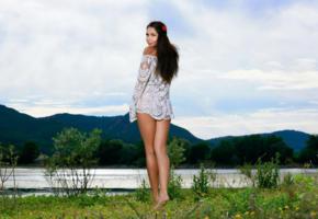 romana, rika s, sexy girl, adult model, tanned, brunette, legs, lake