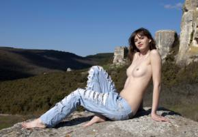 brunette, outdoor, sexy girl, alla, jeans, torn jeans, topless, tits