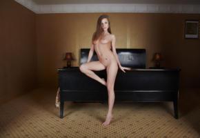 alyssa, brunette, bed, nude, sexy girl, alyssa a, giulia, laura k, maria, molly v, orchid, shaved pussy, long legs