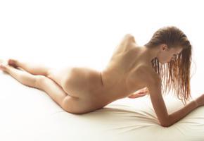 brunette, bed, nude, naked, ass, back