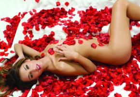 uma jolie, model, perfect girl, roses, french style nails, brunette, petals, rose petals, belicia, belicia segura, luna, madeline clark
