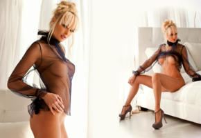 shera bechard, playboy, boobs, black see thru, bed, shaved pussy, blonde, sexy, collage, see through, big tits