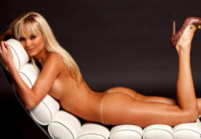 shera bechard, playboy model, sexy blonde, sexy ass, sexy legs, high heels, lounge, ass, tanned, smile, playboy