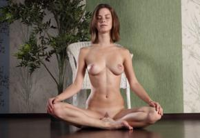 mocca, yoga, brunette, nude, naked, sexy girl, nipples, pussy, adult model