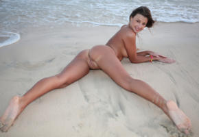 maria ryabushkina, maria, tara, melena, maria rya, auburn, beach, naked, tits, shaved pussy, labia, ass, spread legs, tanned, smile, hi-q