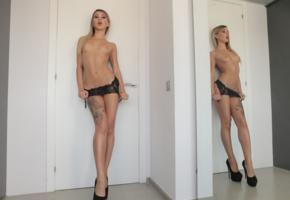 unknown, blonde, tits, tattoo, pierced navel, suspenders, mirror