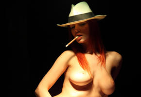 ariel, sexy girl, tits, boobs, cigarette, redhead, hat, ariel piper fawn