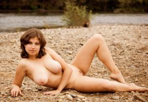 brunette, nude, outdoor, water, unknown, boobs, big tits
