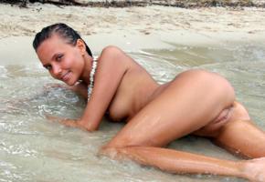 katya clover, clover, mango, mango a, caramel, auburn, beach, naked, tits, shaved pussy, labia, ass, wet, tanned, hi-q