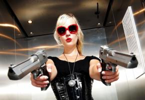 action girls, blonde, sunglasses, gun, two guns