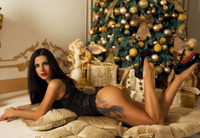 christmas, tattoo, christmas tree, legs, tanned, lingerie, black lingerie