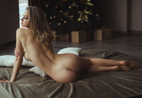 christmas, girl, ass, back, nude, christmas tree, pillows