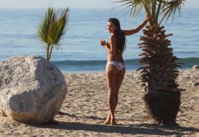 nora sibiel, zishy, bikini, cute, beach, sea, smile, rock, tree, palm tree, palm