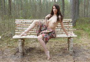 laura, brunette, naked, amateur, outdoor, sexy girl, wood, bench, leks, topless, skirt, small tits