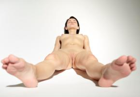nude, naked, sexy girl, pussy, ariel, brunette, feet, shaved pussy, labia, tits, nipples, puffy nipples