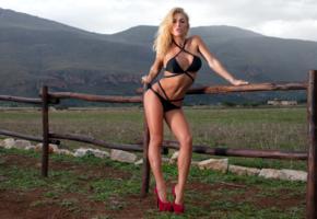 brigitta, blonde, outdoors, field, bikini, big tits, high heels, hi-q, brigitta kakuk