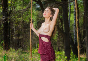 mila, milla, milla d, auburn, outdoors, forest, swing, dress, topless, big tits, nipples, hi-q, perfect girl, perfect tits, mila azul, mia i, milla y