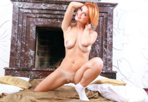 dina p, violla a, myza, sexy girl, adult model, redhead, smile, boobs, tits, pussy, labia, fireplace, shaved pussy, socks, perfect girl, beauty, perfect body, perfect tits, perfect pussy, sexy legs, sexy pose