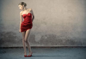 brunette, model, standing, red dress, sexy, shoes