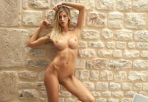 wall, photodromm, perfect, claudia, nina, big tits, boobs, shaved pussy, oiled, hot