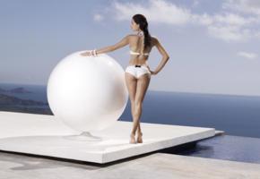 brunette, bikini, standing, model, ocean, tal berkovich