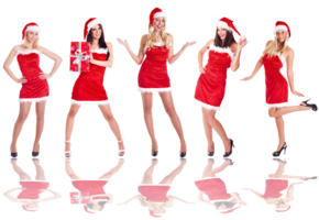 christmas, hot, santa, five, girld, legs