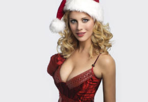 christmas, blonde, hot, sexy, busty, decolette