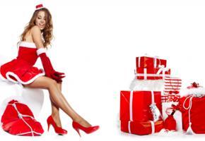 christmas, redhead, sexy legs, gift