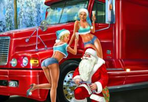 christmas, santa, breakdown, stop, art