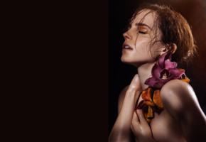 emma watson, redhead, flower, hude, 4k