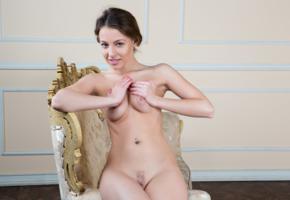 nikia, nikia a, sexy girl, adult model, handbra, tits, nipples, navel, piercing, trimmed pussy