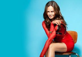 chrissy teigen, brunette, model, dress, red dress