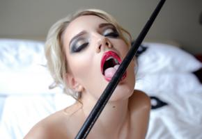 kenna james, model, blonde, tongue, stick, lick, red lips