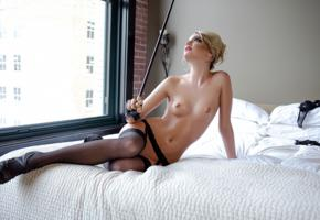 kenna james, model, stockings, nylons, stilettos, stick, bed, bedroom, playmate, tits, topless, black stockings