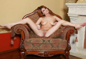 dina p, violla a, myza, sexy girl, adult model, trimmed pussy, redhead, smile, pussy, labia, boobs, tits