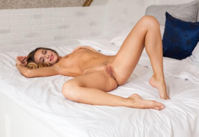 cara mell, cara, rena, sexy girl, adult model, trimmed pussy, tanned, tits, boobs, bed