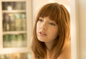 lena anderson, model, pretty, teen, red hair, green eyes, redhead, face