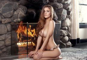 amberleigh west, model, pretty, brunette, carpet, fireplace, playmate, tits, topless, boobs