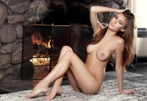amberleigh west, model, pretty, perfect body, perfect girl, perfect tits, feet, carpet, fireplace, boobs, legs, tits