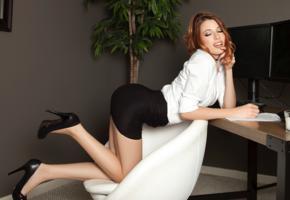 caitlin mcswain, model, jacket, miniskirt, platform high heels, stilettos, playmate, legs, skirt, secretary, blouse