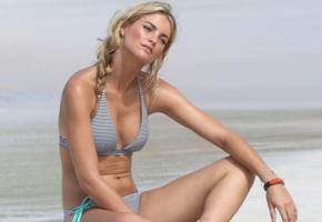 elyse taylor, blonde, bikini, model, beach, sea