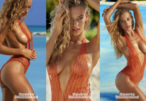 hannah ferguson, blonde, collage, model, tanned, boobs, see through, swimsuit, sexy, sea