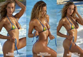 hannah ferguson, collage, model, tanned, bikini, sea, sexy, hot