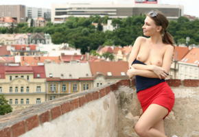 galina a, cecelia, city scapes, sexy dressed, brunette, tits, skirt, sunglasses, smile, tits out