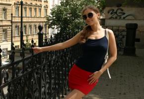 galina a, cecelia, goddes-nudes, city scapes, brunette, skirt, sunglasses, smile, red skirt