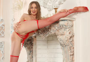 nimfa, flexible, fishnet, lingerie, red stockings, ass, pussy, shaved pussy, smile