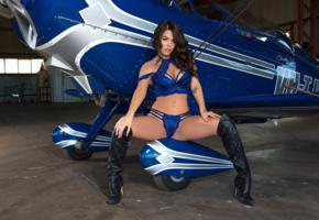 marlee may, brunette, sexy girl, adult model, aircraft, boots, lingerie, blue lingerie, panties, bra, plane