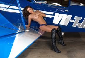 marlee may, brunette, sexy girl, adult model, aircraft, boots, panties, boobs, plane