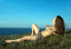 brunette, naked, amateur, outdoor, sun, beach, sexy girl, adult model